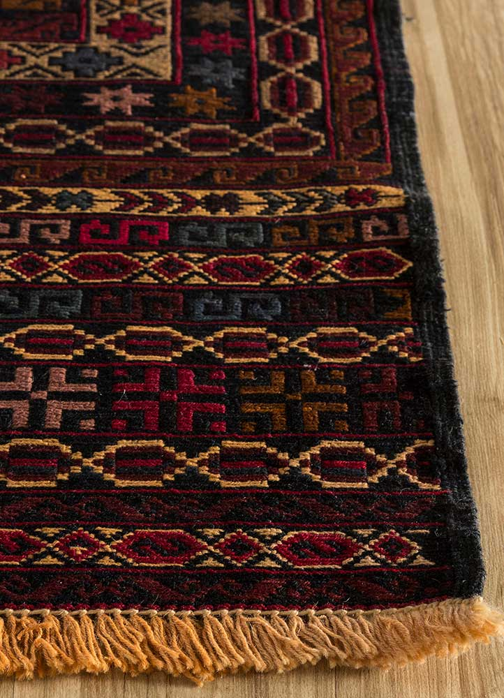 kiaan red and orange wool hand knotted Rug - Corner