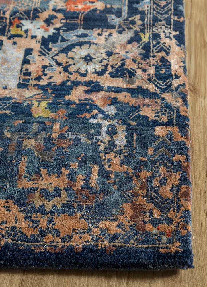 far east blue wool and bamboo silk hand knotted Rug - Corner