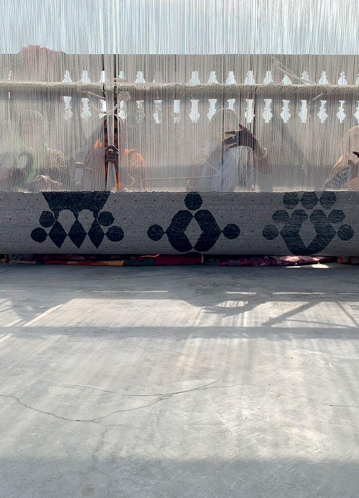 kolam grey and black wool and bamboo silk hand knotted Rug - Corner