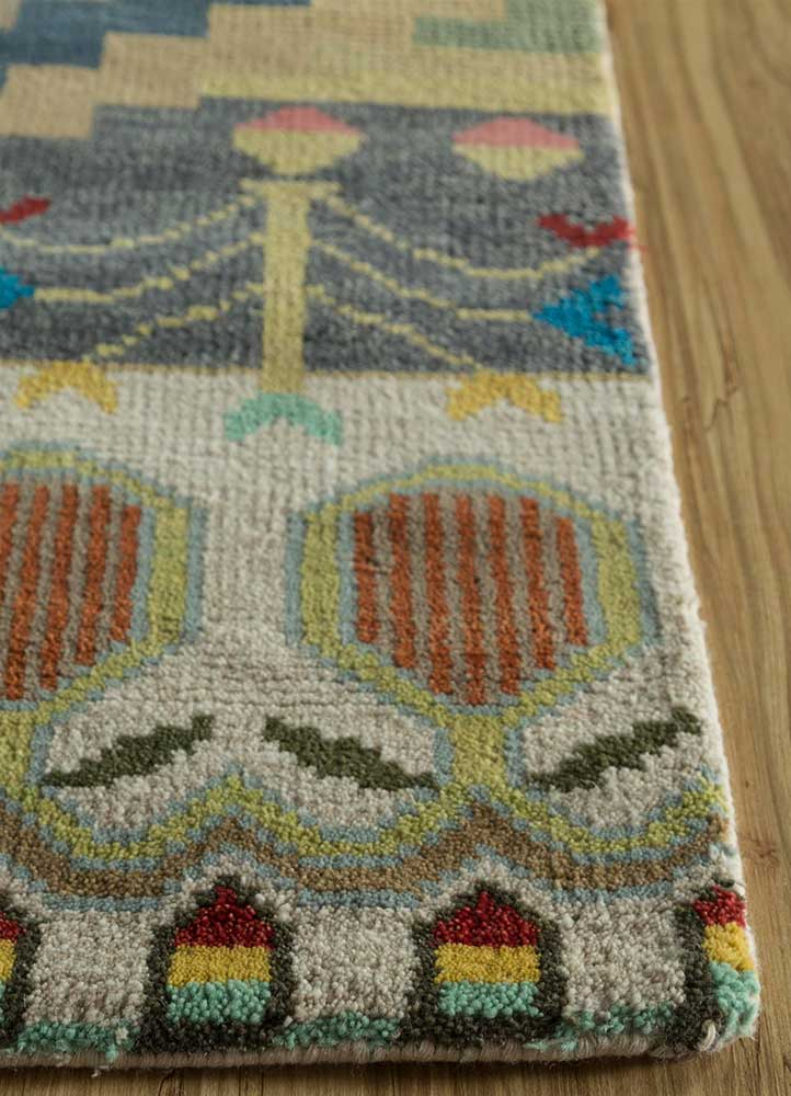 erbe ivory wool hand knotted Rug - Corner