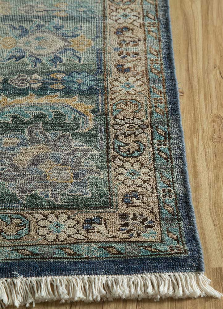 someplace in time blue wool hand knotted Rug - Corner