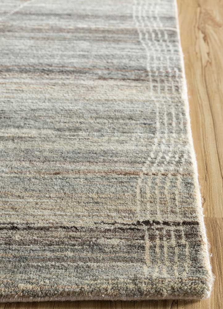 manifest beige and brown wool hand knotted Rug - Corner