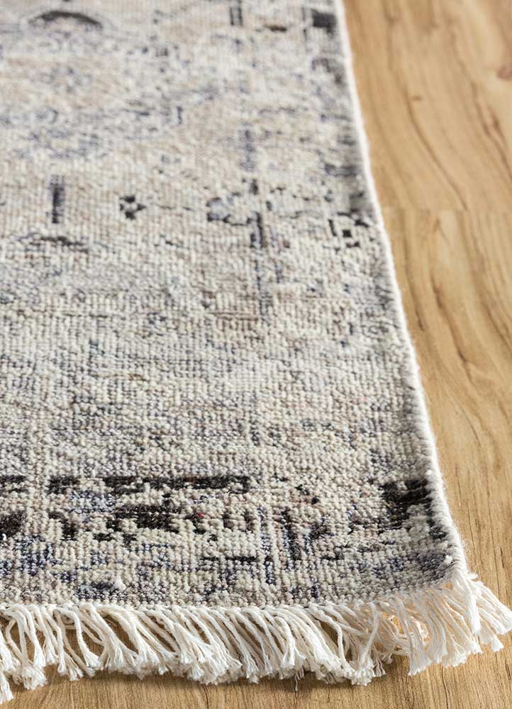 someplace in time ivory wool hand knotted Rug - Corner