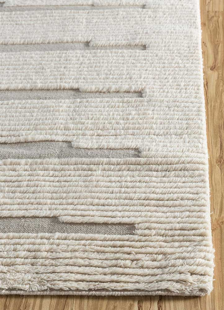 geode grey and black wool hand knotted Rug - Corner
