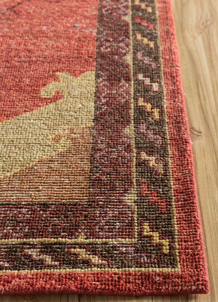 liberty red and orange wool hand knotted Rug - Corner