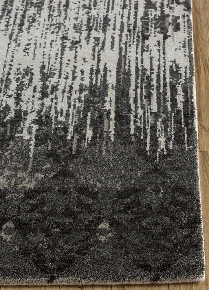 blithe grey and black wool hand knotted Rug - Corner