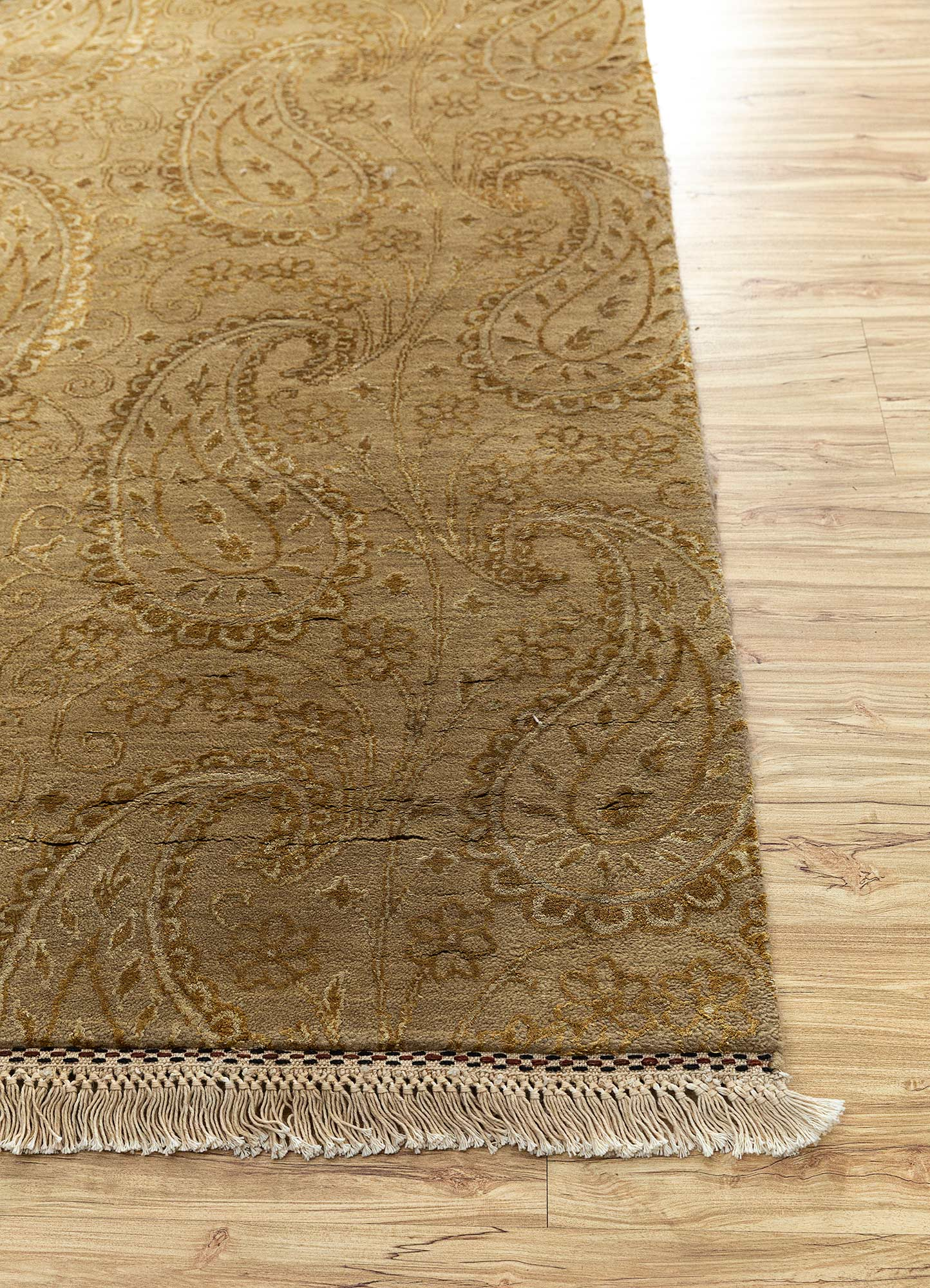 aurora beige and brown wool and silk hand knotted Rug - Corner
