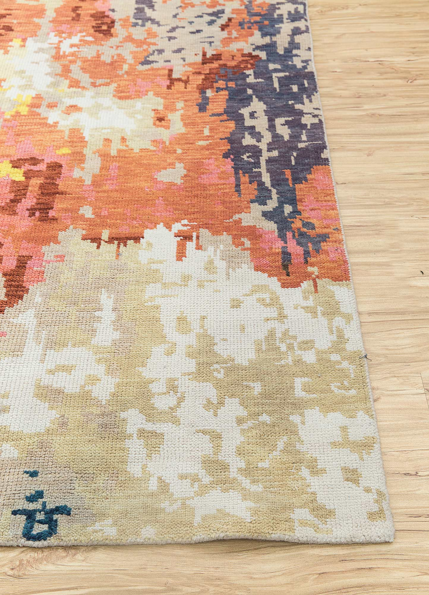 esme beige and brown polyester hand knotted Rug - Corner