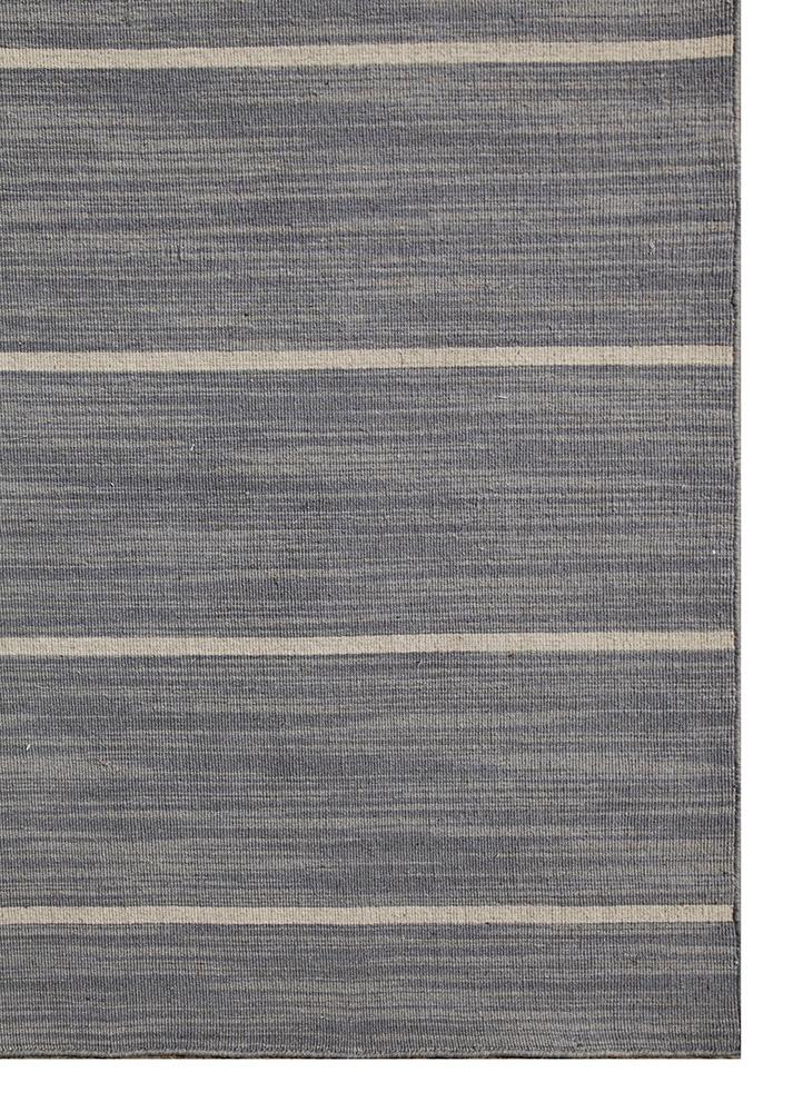 aqua grey and black wool flat weaves Rug - Corner