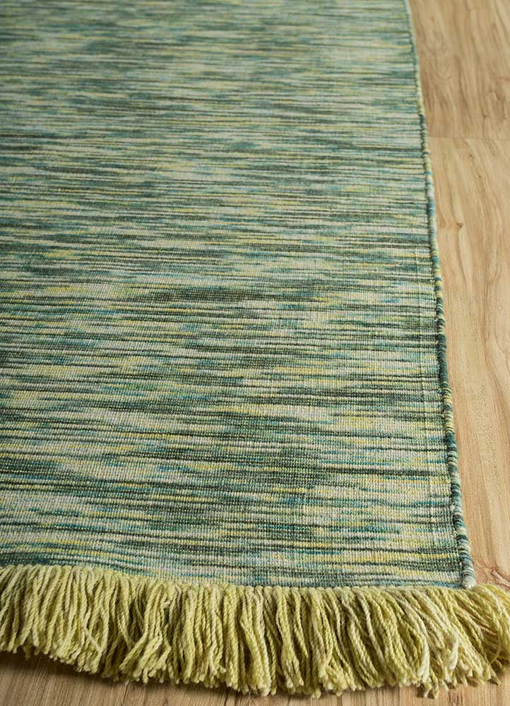 abrash green wool flat weaves Rug - Corner