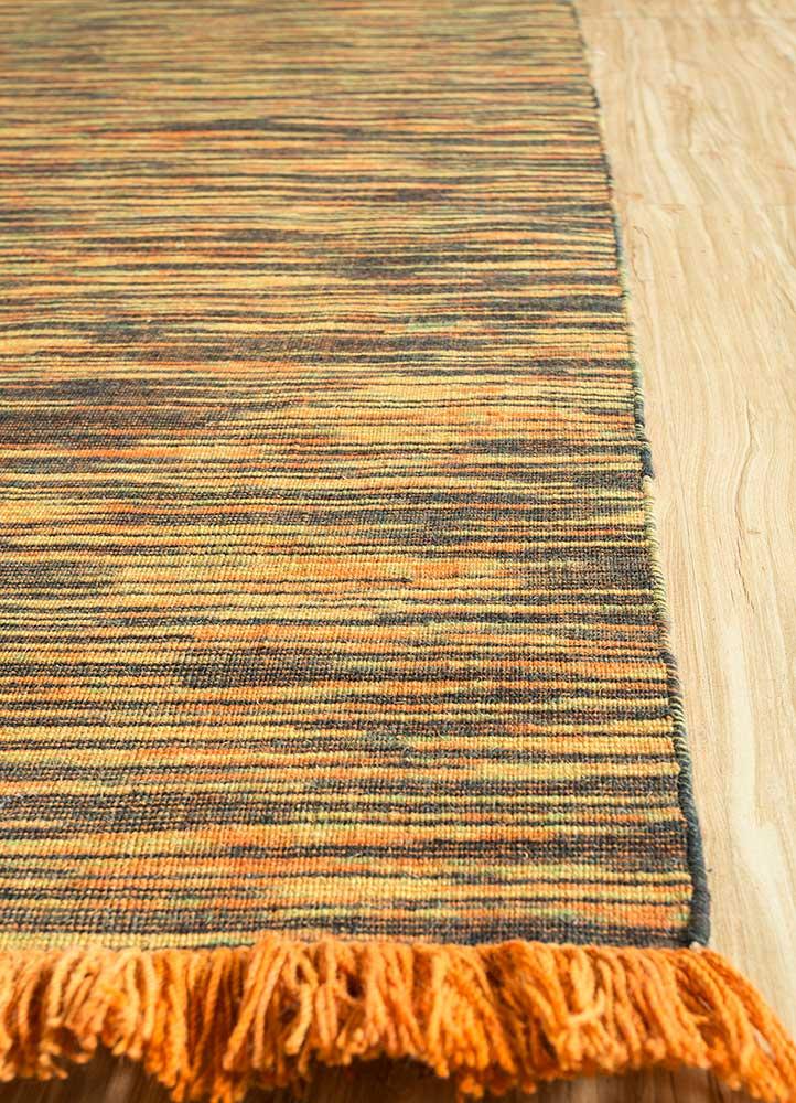 abrash red and orange wool flat weaves Rug - Corner