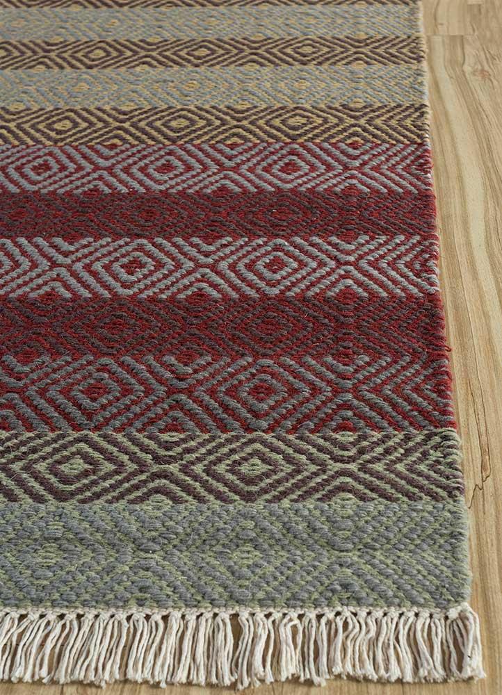 kaross multi wool flat weaves Rug - Corner