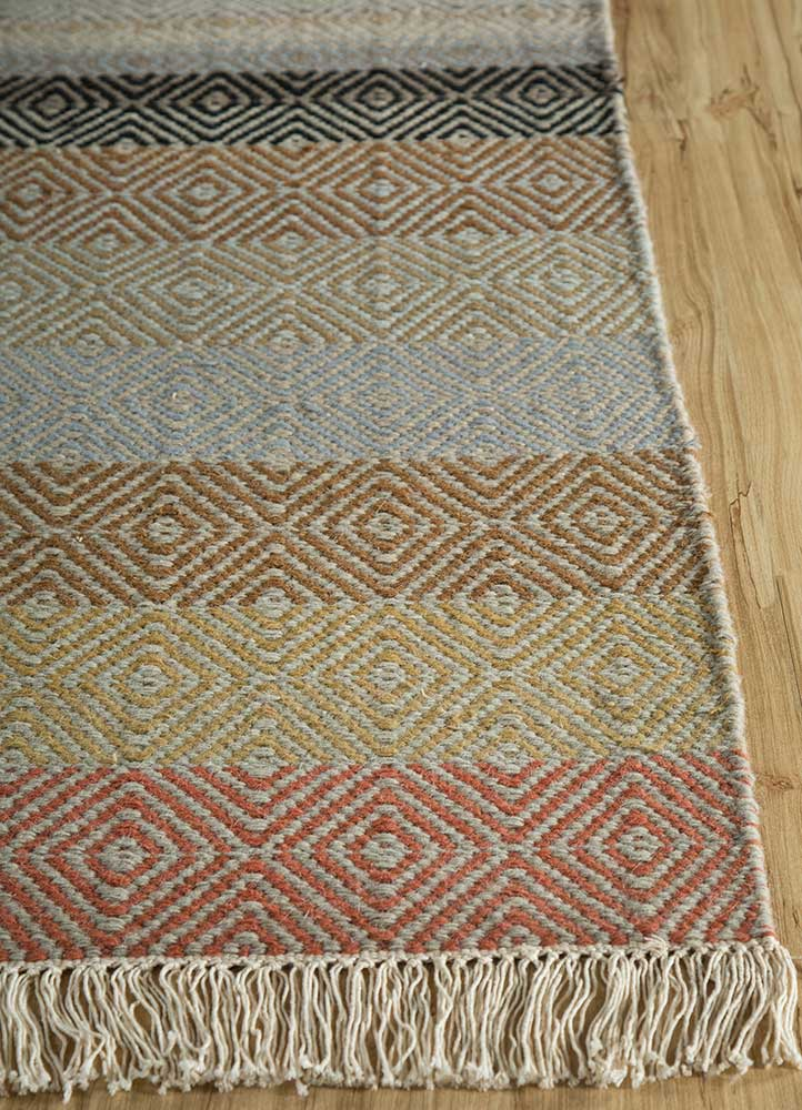 kaross red and orange wool flat weaves Rug - Corner