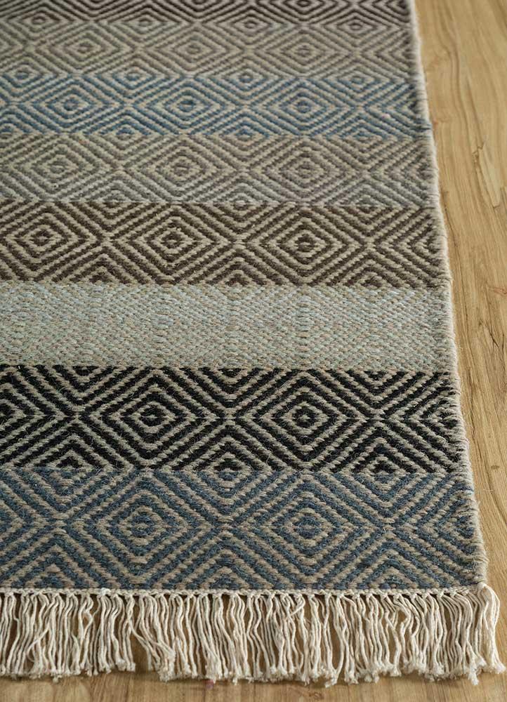 kaross grey and black wool flat weaves Rug - Corner