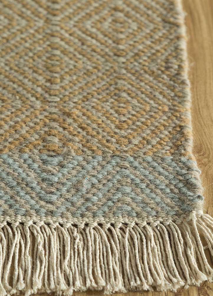 kaross gold wool flat weaves Rug - Corner