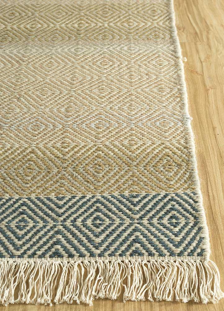 kaross beige and brown wool flat weaves Rug - Corner