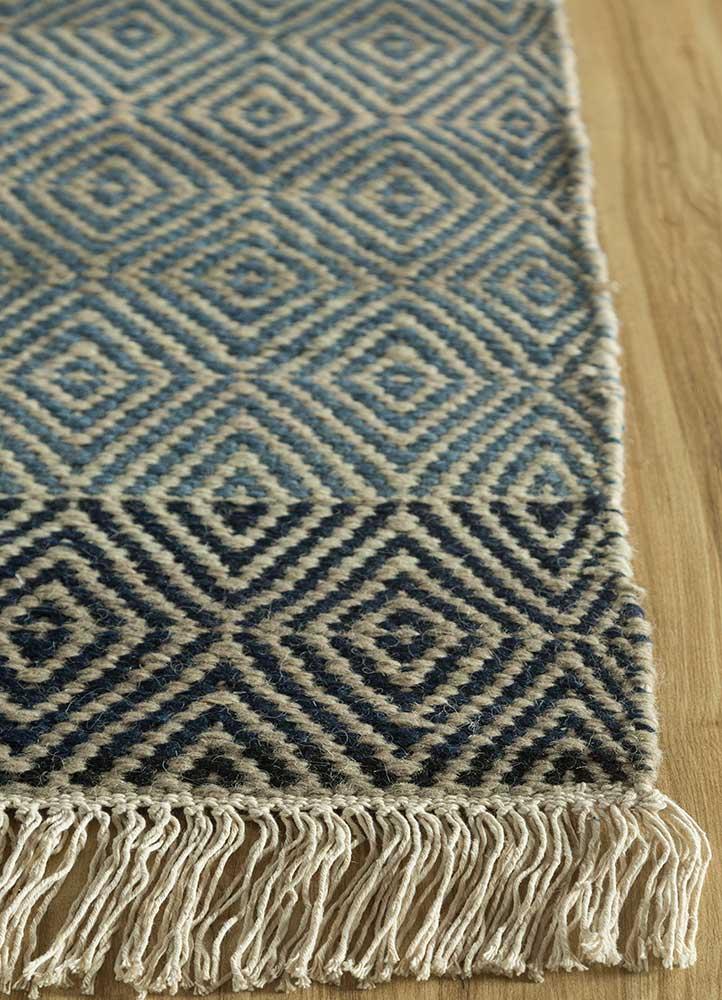 kaross blue wool flat weaves Rug - Corner