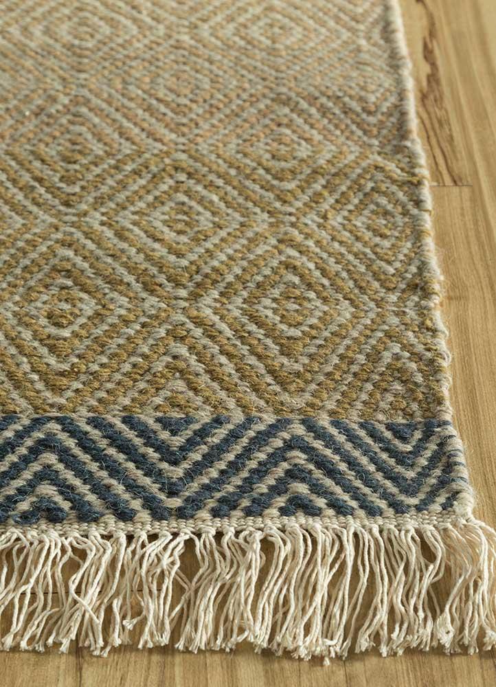 kaross green wool flat weaves Rug - Corner