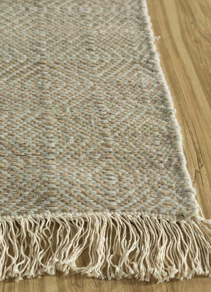 kaross ivory wool flat weaves Rug - Corner