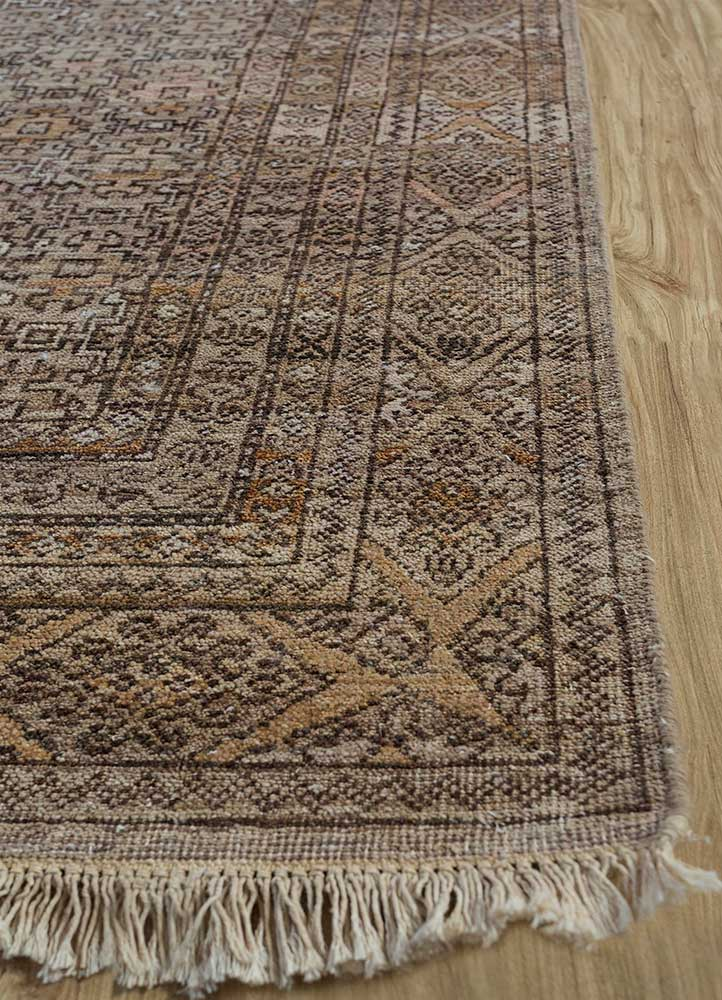someplace in time beige and brown wool hand knotted Rug - Corner