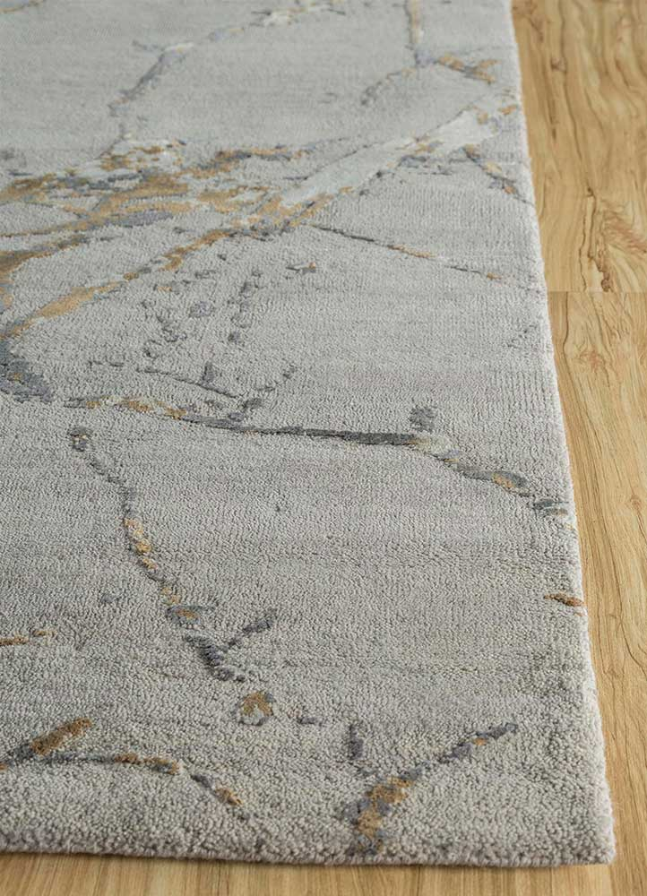 urban pause by kavi grey and black wool and silk hand knotted Rug - Corner