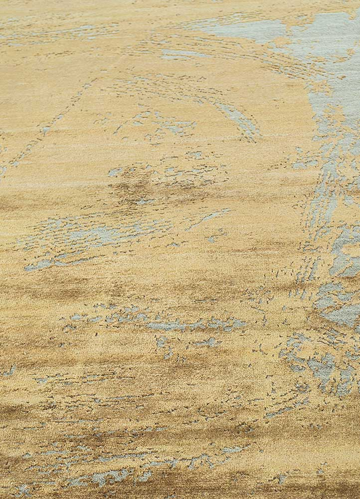 free verse by kavi beige and brown wool and silk hand knotted Rug - Corner