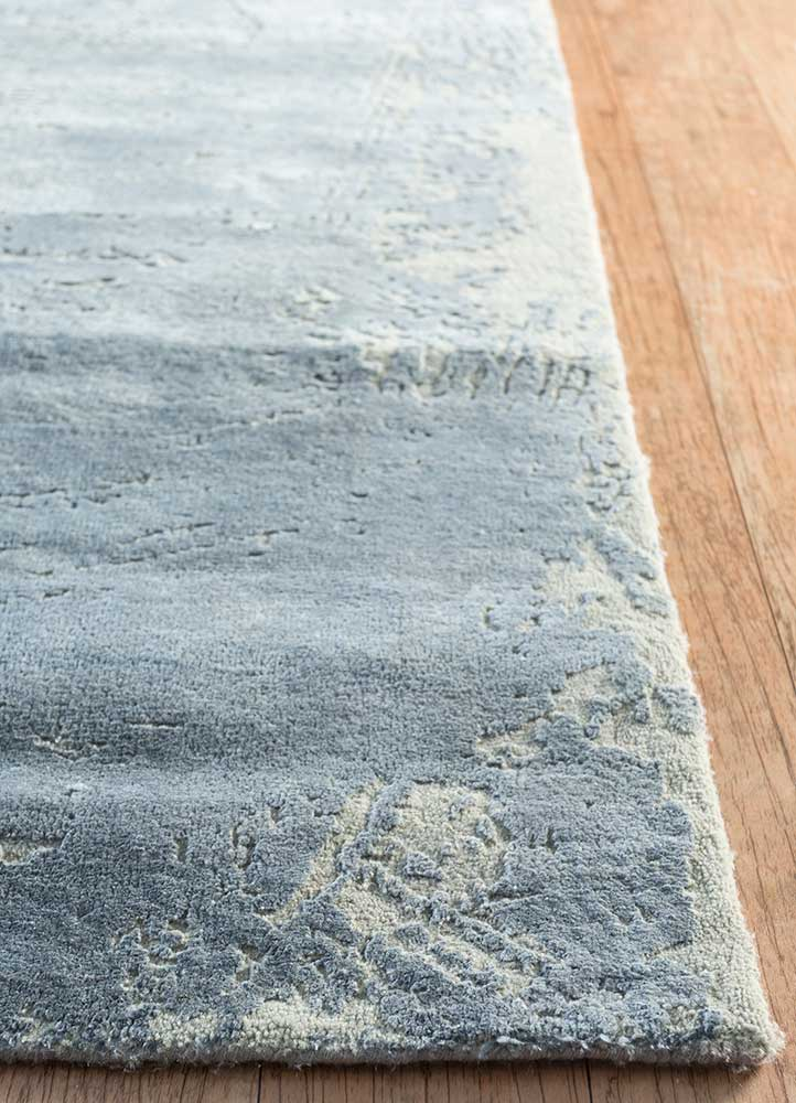 free verse by kavi grey and black wool and silk hand knotted Rug - Corner