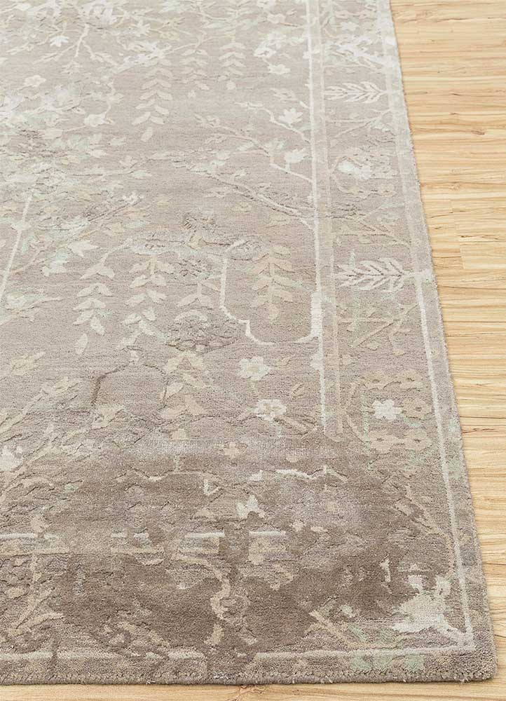 biscayne beige and brown wool and silk hand knotted Rug - Corner