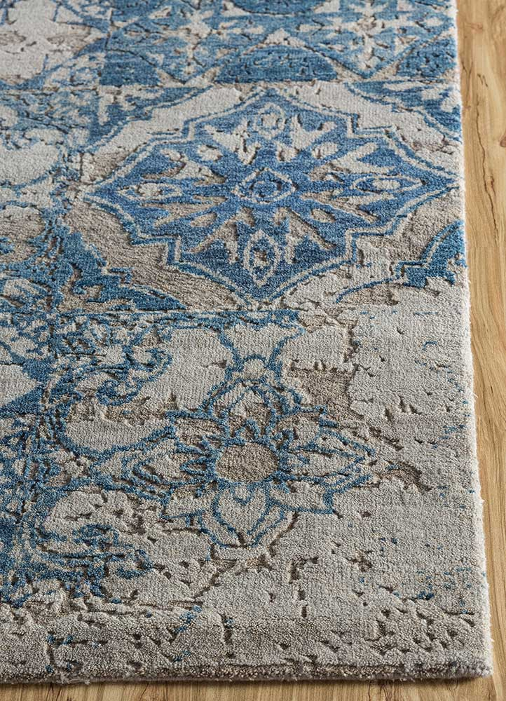 eden grey and black wool hand knotted Rug - Corner