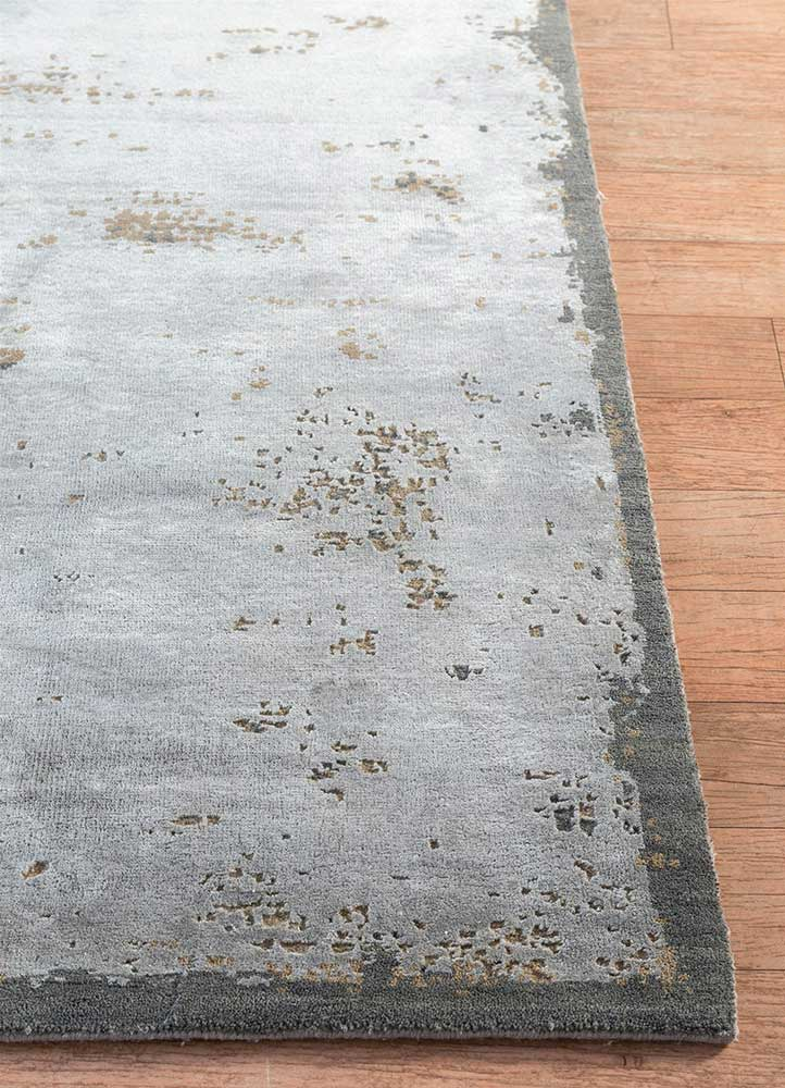 urban pause by kavi grey and black wool and bamboo silk hand knotted Rug - Corner