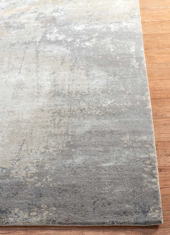 faulty blend by kavi ivory wool and bamboo silk hand knotted Rug - Corner