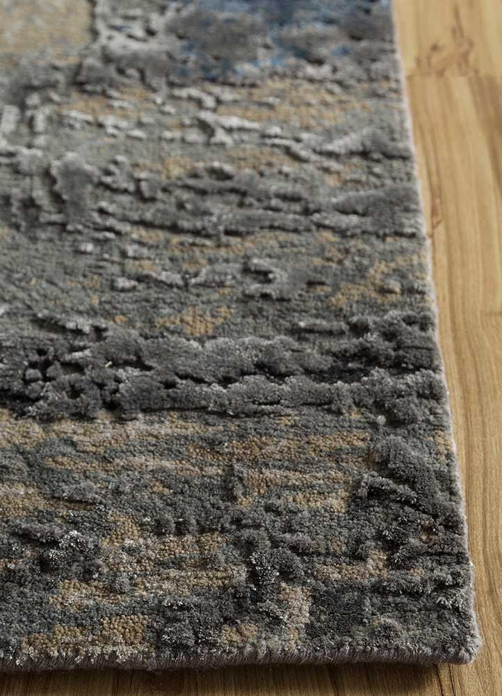 faulty blend by kavi grey and black wool and bamboo silk hand knotted Rug - Corner