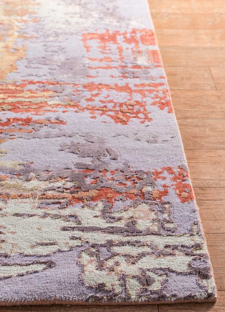 project error by kavi red and orange wool and bamboo silk hand knotted Rug - Corner