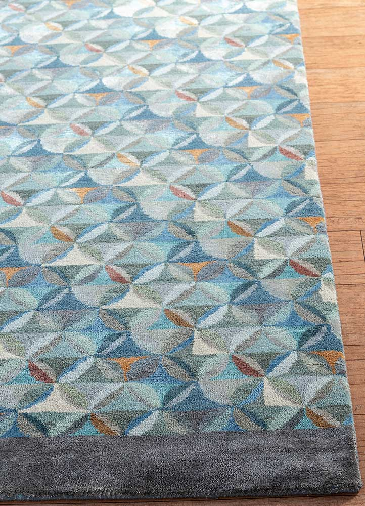 aakar by kavi blue wool and bamboo silk hand knotted Rug - Corner