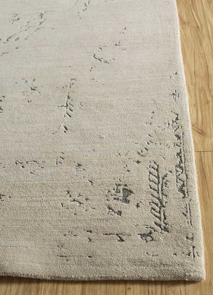 kibrast ivory wool and bamboo silk hand knotted Rug - Corner