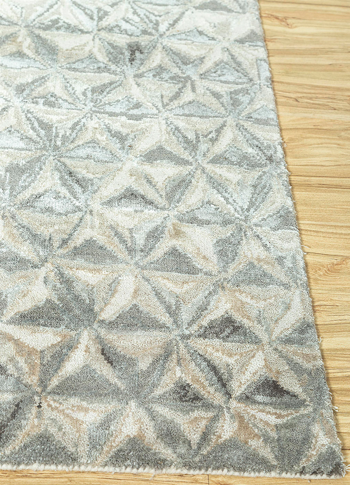 free verse by kavi ivory wool and bamboo silk hand knotted Rug - Corner