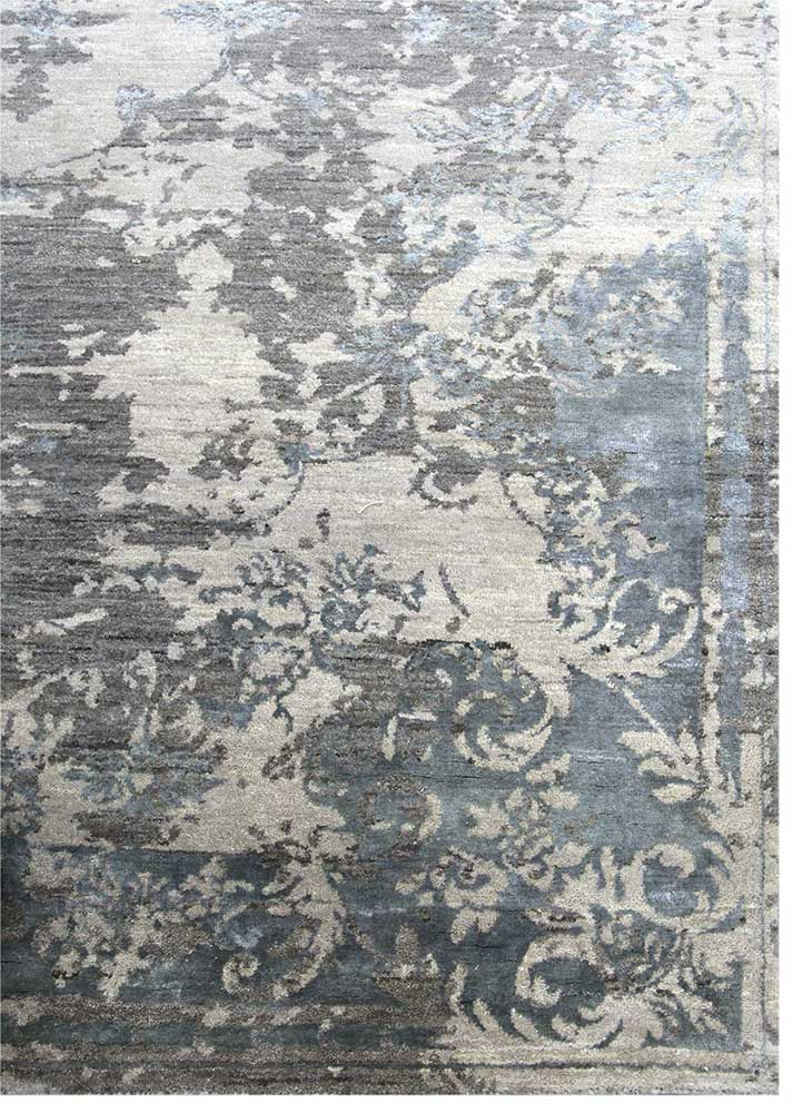 kibrast grey and black wool and viscose hand knotted Rug - Corner