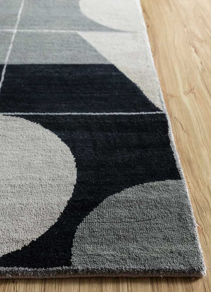 aakar by kavi ivory wool and bamboo silk hand knotted Rug - Corner