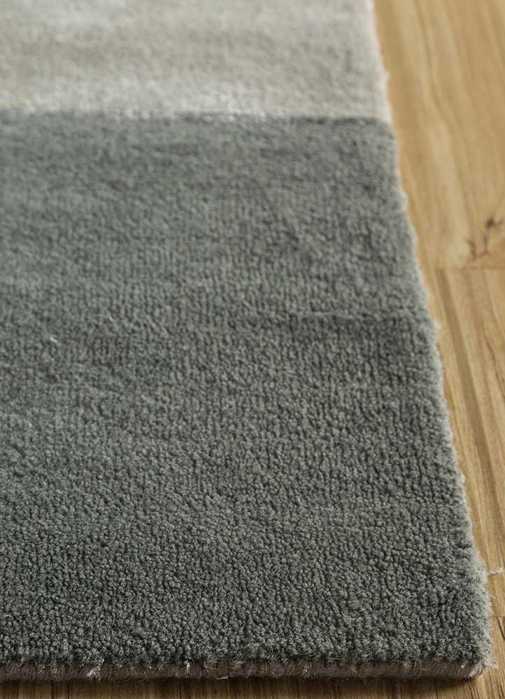 aakar by kavi grey and black wool and bamboo silk hand knotted Rug - Corner