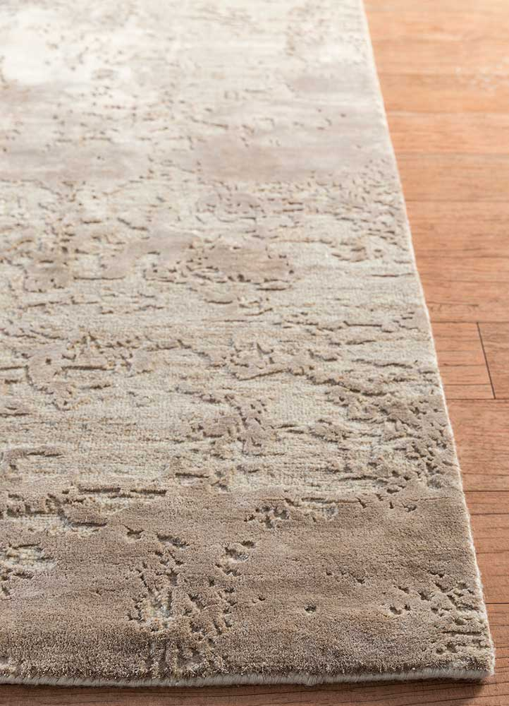 project error by kavi beige and brown wool and bamboo silk hand knotted Rug - Corner