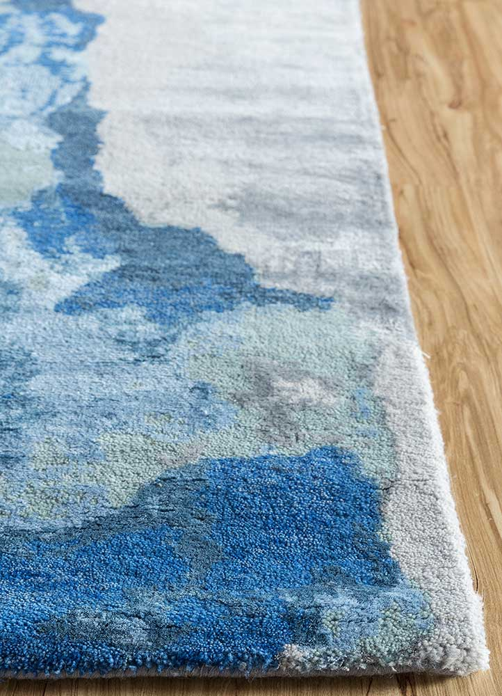 kibrast blue wool and bamboo silk hand knotted Rug - Corner