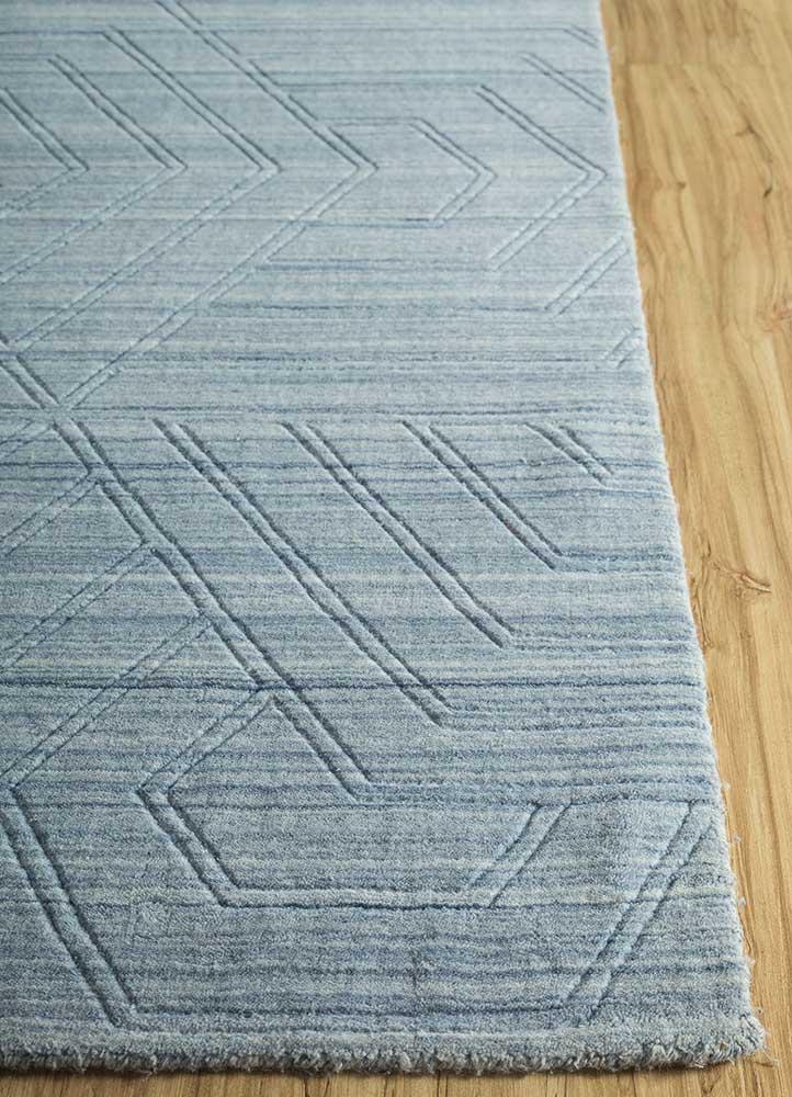 graze blue polyester hand loom Rug - Corner
