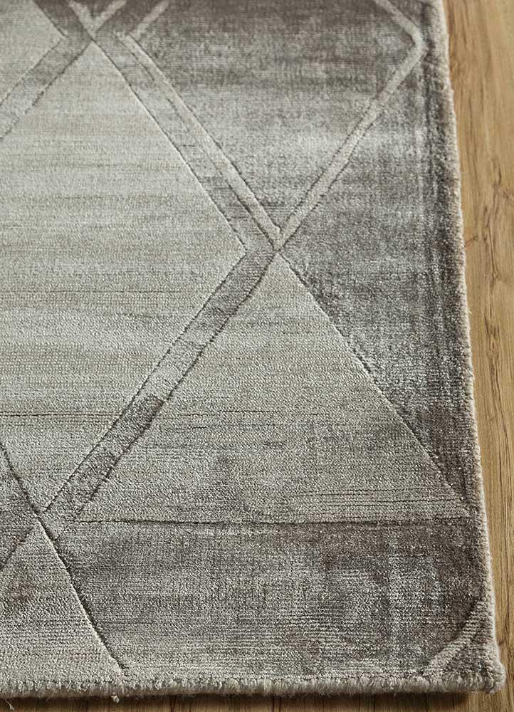 entropy grey and black viscose hand loom Rug - Corner