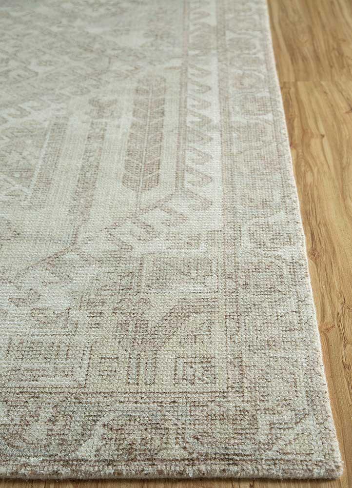 acar ivory wool and bamboo silk hand loom Rug - Corner