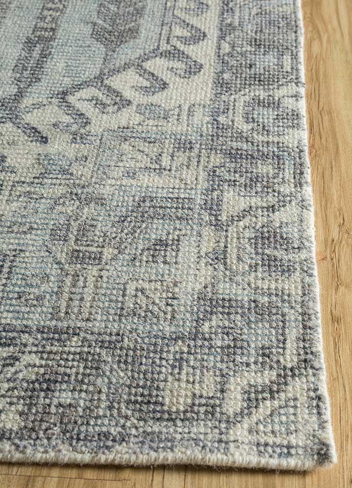 acar blue wool and bamboo silk hand loom Rug - Corner
