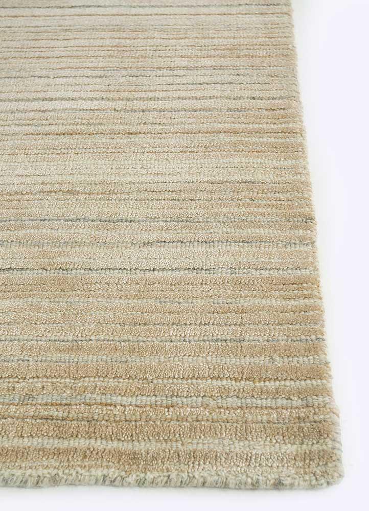 oxford beige and brown wool hand loom Rug - Corner