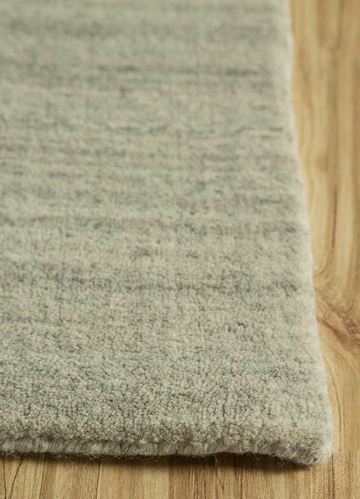graze blue wool hand loom Rug - Corner