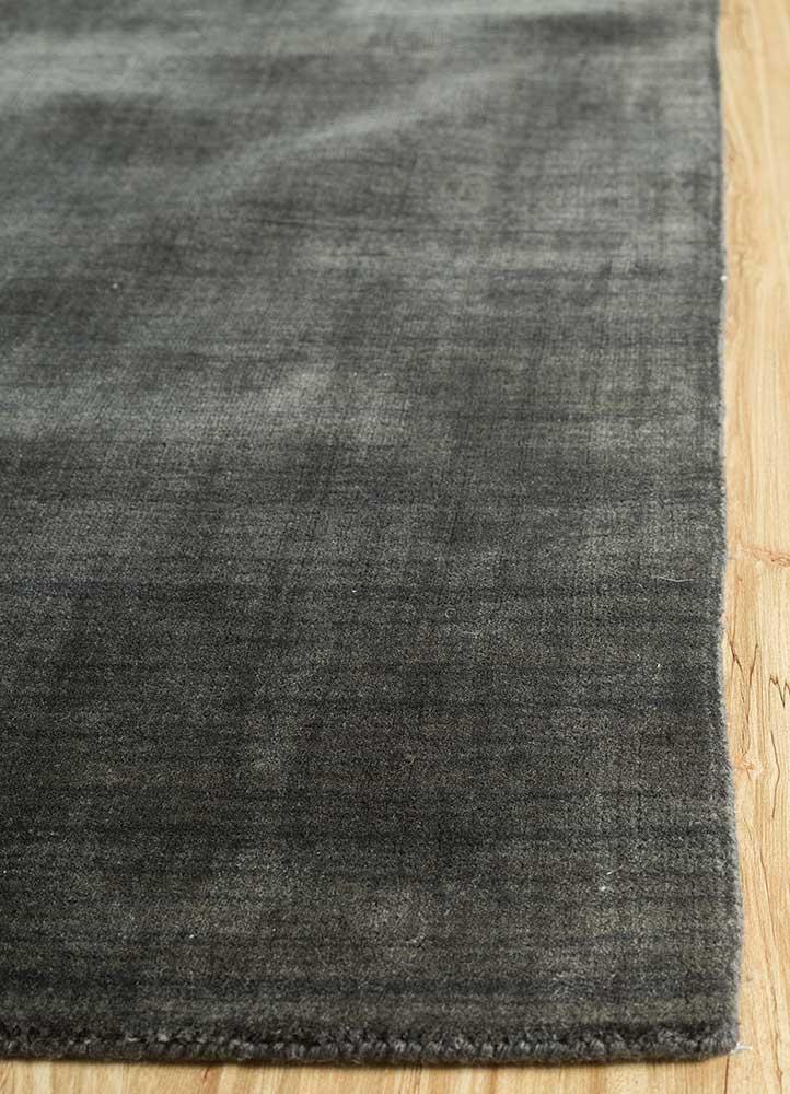 oxford grey and black wool and viscose hand loom Rug - Corner