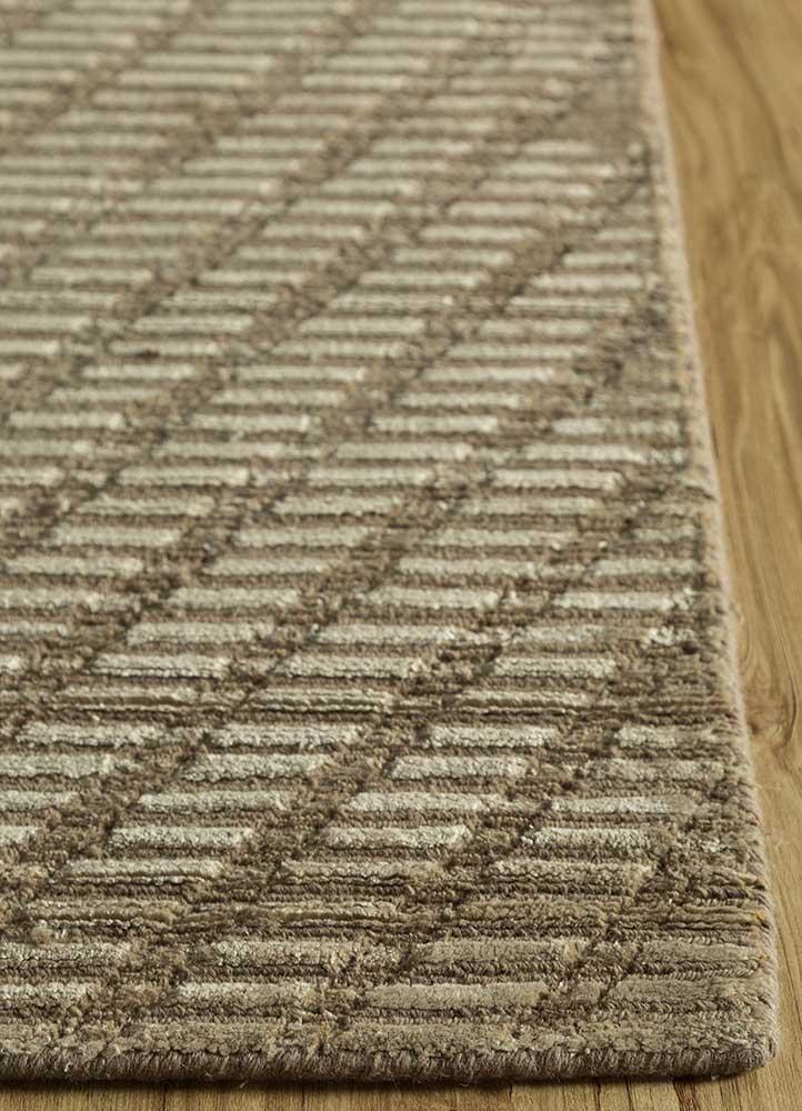 oxford beige and brown wool and viscose hand loom Rug - Corner