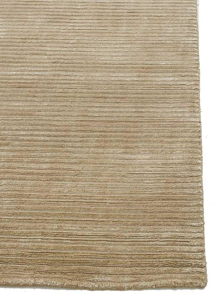basis beige and brown wool and viscose hand loom Rug - Corner